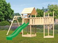 Akubi Spielturm Lotti Satteldach + Schiffsanbau oben + Einzelschaukel + Anbauplattform XL + Rutsche in grün