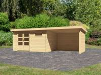 Karibu Woodfeeling Gartenhaus Bastrup 8 mit Schleppdach 3 Meter, Rück- und Seitenwand