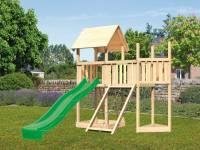 Akubi Spielturm Lotti Satteldach + Schiffsanbau oben + Anbauplattform + Netzrampe + Rutsche in grün