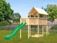 Akubi Spielturm Danny Satteldach + Rutsche grün + Anbauplattform XL