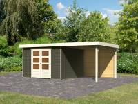 Karibu Woodfeeling Gartenhaus Askola 6 in terragrau mit Anbaudach 2,4 Meter - Rückwand