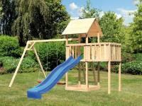 Akubi Spielturm Lotti natur- Anbauplattform- Doppelschaukel- Rutsche blau