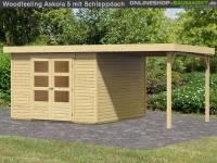 Karibu Woodfeeling Gartenhaus Askola 5 mit Anbaudach 2,25 Meter