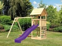 Akubi Spielturm Lotti mit Doppelschaukel, Kletterwand und Rutsche violett
