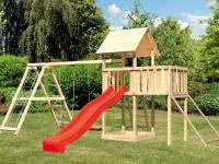 Akubi Spielturm Lotti Satteldach + Rutsche rot + Doppelschaukelanbau Klettergerüst + Anbauplattform + Netzrampe
