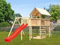 Akubi Spielturm Danny Satteldach + Rutsche rot + Doppelschaukel + Anbauplattform XL + Kletterwand