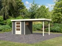 Karibu Woodfeeling Gartenhaus Oburg 2 terragrau mit Anbaudach 2,8 Meter