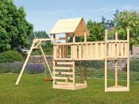 Akubi Spielturm Lotti Satteldach + Schiffsanbau oben + Einzelschaukel + Anbauplattform XL + Kletterwand