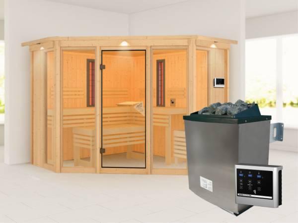 Karibu Multifunktions-Sauna Asta mit Dachkranz, 9 kW Ofen und Infrarotstrahler