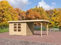 Karibu Aktions Gartenhaus Jever 4 mit Anbaudach 2,40 Meter, Fußboden und Dacheindeckung