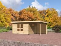 Karibu Gartenhaus Rastede 4 inkl. mit Dacheindeckung, Fußboden und Anbaudach 2,2 m mit Rückwand