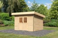 Karibu Gartenhaus Moosburg 2 naturbelassen mit klassischer Tür