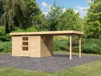Karibu Woodfeeling Gartenhaus Oburg 4 natur mit Anbaudach 2,8 Meter