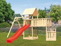 Akubi Spielturm Lotti + Schiffsanbau unten + Anbauplattform XL + Einzelschaukel + Rutsche rot