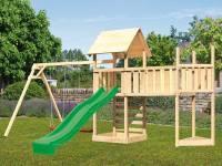 Akubi Spielturm Lotti Satteldach + Schiffsanbau oben + Doppelschaukel + Anbauplattform XL + Kletterwand + Rutsche in grün