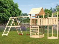 Akubi Spielturm Lotti Satteldach + Schiffsanbau oben + Anbauplattform + Doppelschaukel mit Klettergerüst + Kletterwand