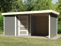 Karibu Woodfeeling Gartenhaus Schwandorf 5 terragrau mit Anbaudach 2,25 Meter, Seiten- und Rückwand