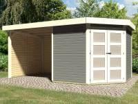 Karibu Gartenhaus Goldendorf 5 terragrau 19 mm mit Anbaudach 2,20 m, Seiten- und Rückwand