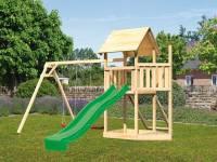 Akubi Spielturm Lotti Satteldach + Schiffsanbau oben + Doppelschaukel + Netzrampe + Rutsche in grün