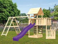 Akubi Spielturm Lotti + Schiffsanbau unten + Anbauplattform + Kletterwand + Doppelschaukel mit Klettergerüst + Rutsche violett