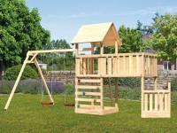 Akubi Spielturm Lotti + Schiffsanbau unten + Anbauplattform XL + Doppelschaukel + Kletterwand
