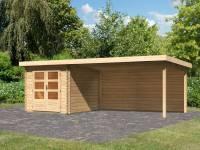 Karibu Woodfeeling Gartenhaus Bastrup 4 mit Anbaudach 4 Meter inkl. Rückwand