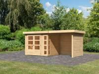 Karibu Woodfeeling Gartenhaus Kerko 3 natur mit 2,40 m Anbaudach und Rück-und Seitenwänden