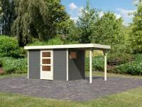 Karibu Woodfeeling Gartenhaus Oburg 4 terragrau mit Anbaudach 1,5 Meter