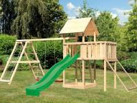 Akubi Spielturm Lotti Satteldach + Rutsche grün + Doppelschaukelanbau Klettergerüst + Anbauplattform + Netzrampe