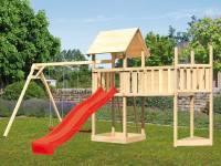 Akubi Spielturm Lotti Satteldach + Schiffsanbau oben + Doppelschaukel + Anbauplattform XL + Rutsche in rot