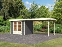 Karibu Woodfeeling Gartenhaus Askola 3,5 mit Anbaudach 2,8 m in terragrau