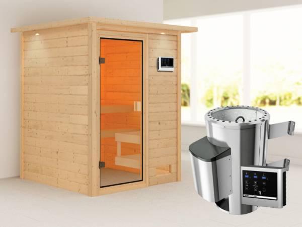Karibu Sauna Sandra mit 3,6 kW Ofen ext. Strg und Dachkranz 38 mm