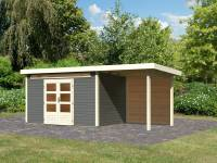 Karibu Woodfeeling Gartenhaus Kandern 7 in terragrau mit Anbaudach 2,60 Meter inkl. Rückwand
