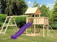 Akubi Spielturm Lotti Satteldach + Rutsche violett + Doppelschaukelanbau Klettergerüst + Anbauplattform + Netzrampe