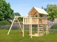 Akubi Spielturm Danny Satteldach + Doppelschaukel + Anbauplattform + Kletterwand