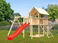 Akubi Spielturm Danny Satteldach + Rutsche rot + Doppelschaukel + Anbauplattform + Netzrampe