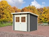 Karibu Gartenhaus Bremen 4 terragrau mit Fußboden und Dacheindeckung