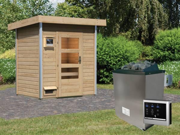 Karibu 38 mm Saunahaus Jorgen - 9 kW Ofen, ext. Steuerung - Moderne Saunatür