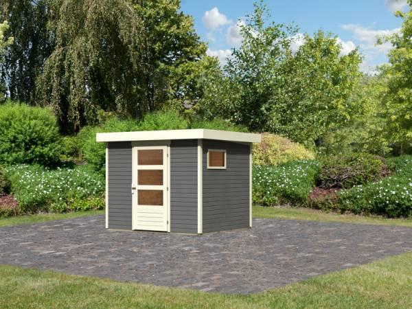 Karibu Woodfeeling Gartenhaus Oburg 3 terragrau 19 mm