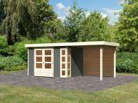 Karibu Woodfeeling Gartenhaus Kerko 4 terragrau mit Anbaudach 2,40 m, Rückwand