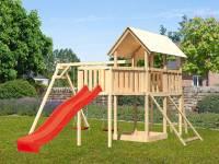 Akubi Spielturm Danny Satteldach + Rutsche rot + Doppelschaukel + Anbauplattform XL + Netzrampe