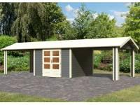 Karibu Woodfeeling Gartenhaus Tastrup 7 in terragrau mit 2 Anbaudächern 3,00 Meter