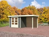 Karibu Aktions Gartenhaus Jever 3 in terragrau mit Fußboden, Dacheindeckung und Anbaudach 2,40 Meter inkl. Rückwand