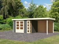 Karibu Woodfeeling Gartenhaus Kerko 5 terragrau mit Anbaudach 2,80 m inkl. Rückwand