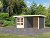 Karibu Woodfeeling Gartenhaus Askola 3,5 mit Anbaudach 2,25 Meter, Seiten- und Rückwand in terragrau