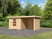 Karibu Woodfeeling Gartenhaus Oburg 3 natur mit Anbaudach 2,4 Meter inkl. Rück- und Seitenwand