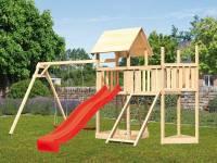 Akubi Spielturm Lotti Satteldach + Schiffsanbau oben + Anbauplattform + Doppelschaukel + Netzrampe + Rutsche in rot