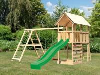 Akubi Spielturm Danny Satteldach + Rutsche grün + Doppelschaukelanbau Klettergerüst + Kletterwand