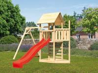 Akubi Spielturm Lotti Satteldach + Schiffsanbau oben + Einzelschaukel + Kletterwand + Rutsche in rot