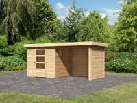 Karibu Woodfeeling Gartenhaus Oburg 2 natur mit Anbaudach 2,4 Meter inkl. Rück- und Seitenwand